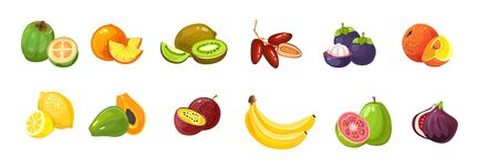 Cartoon tropical exotic fruits set on white background vector illustration. Juicy collection of lemon orange banana kiwi and fig flat style design. Bright tasty vitamins concept Фото со стока - 138319307