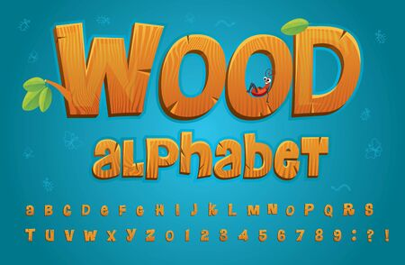 Wooden alphabet in cartoon style with set of letters vector illustration. Collection of numbers and capital letters for learn childish style design. Education and knowledge concept Ilustração