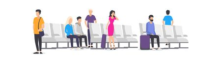 Cartoon people at airport waiting for airplane vector illustration. Faceless men and women with suitcases in waiting room flat style design. Arrival and departure, travel concept