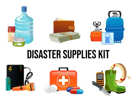 Disaster supplies kit set in cartoon style vector illustration. Collection essential goods flat design. Food, first aid, banknotes, flashlight. Survival emergency concept. Isolated on white