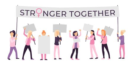 Women demonstration stronger together isolated on white vector illustration. Activists women holding blank banners flat style design. Female empowerment concept
