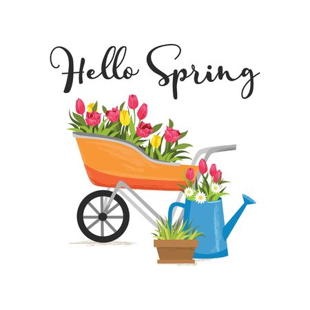 Hello spring greeting cute card with flowers and lettering vector illustration. Pink and yellow bloossoms in containers flat style design. New season and congratulation concept. Isolated on white Ilustração
