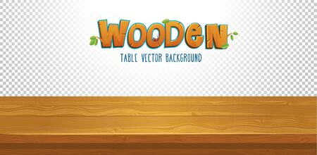 Empty wooden table with transparent background vector illustration. Brown top of desk for your product flat style design. Capital wooden letters and leaves decor Ilustração