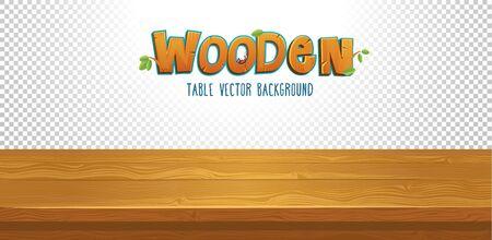 Table en bois vide avec illustration vectorielle fond transparent. Dessus de bureau marron pour la conception de votre produit à plat. Décor de lettres majuscules en bois et de feuilles Vecteurs