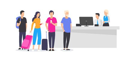 Workers and travelling people at airport illustration. Cartoon men and women standing in queue to check-in desk to register for flight flat style design. Vacation and departure concept