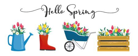 Hello spring cute card with blossoms and lettering vector illustration. Blooming flowers in shoe wooden box and watering can flat style. Greeting template and warm season concept. Isolated on white Ilustração