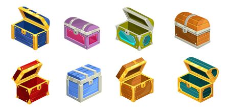 Cartoon treasure chests set on white background vector illustration. Collection of unique wooden boxes flat style. Colourful bright opened and closed chests with keyholes