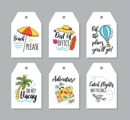 Collection of travel tags with inscriptions vector illustration. Set of beach please oh hey vacay out of office adventure catch flights not feelings and places you will go texts on cards flat style design