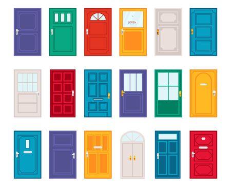 Insieme delle porte differenti nell'illustrazione di vettore di stile piano del fumetto. Vari stili e design luminosi di design di porte. concetto esterno. Isolato su sfondo bianco
