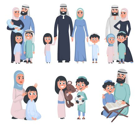 Muslim family set isolated on white background vector illustration. Mother father children and grandfather in good relationships flat style design. Traditions concept