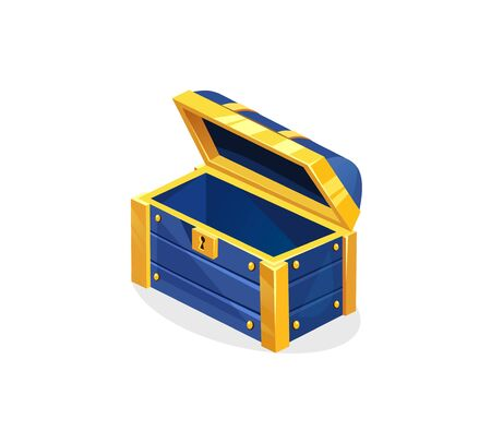 Blue treasure chest icon on white background vector illustration. Opened cover pirate chest with golden metal stripes flat style design. Empty wooden box. Riches concept