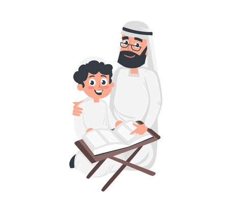 Muslim arab boy and grandfather reading koran vector illustration. Grandson and grandpa in national costumes flat style design. Happy family concept. Isolated on white