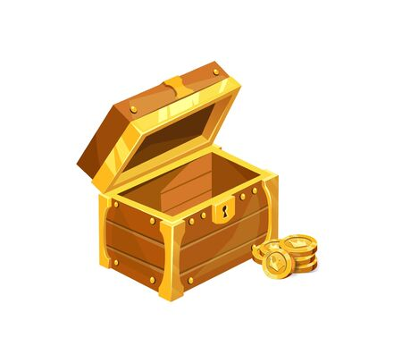 Antique wooden treasure chest icon with coins vector illustration. Brown wooden box with golden shining stripes and keyhole flat style design. Riches concept. Isolated on white background