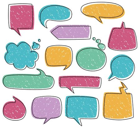 Colourful dialogues frames in different forms set vector illustration. Unique speech bubbles with blank space for messages flat style design. Communication concept. Isolated on white background Illusztráció