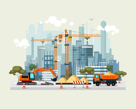 City construction work process with machines vector illustration. Engineers with building cranes and cement trucks flat style. Project of residential houses concept