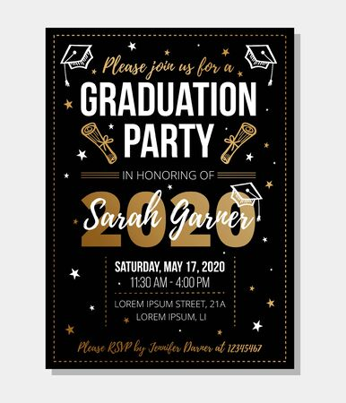 Graduation party template with bright decorations vector illustration. Finish of university or high school flat style. Festive event and traditional ceremony concept