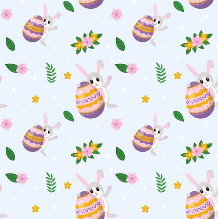 Happy easter pattern with cute rabbit and egg vector illustration. Endless texture for spring holiday with floral decoration flat style. Festive celebration concept