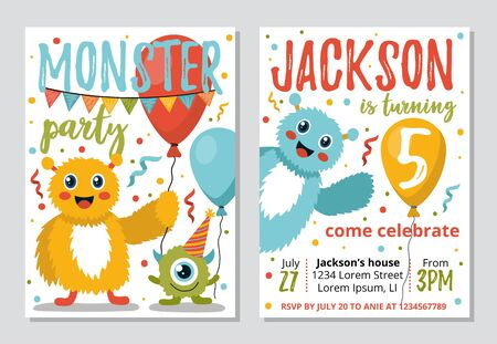Monster party invitation template for kids vector illustration. Time and address information in greeting card cartoon design. Bright decorations. Birthday celebration concept