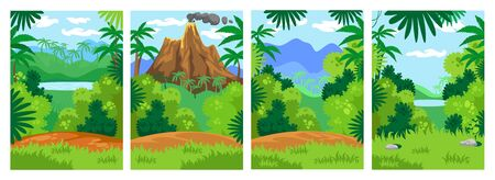 Jungle backgrounds with tropical leaves set vector illustration. Lake, volcano and mountain with green meadows cartoon design. Untouched nature and safari concept Illustration
