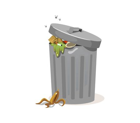 Trash can filled with rubbish and peel from banana vector illustration. Garbage with cigarette and flies cartoon design. Trash falling on ground. Isolated on white background