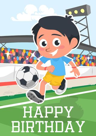 Happy birthday greeting card with smiling kid vector illustration. Little boy playing football cartoon design. Cute child passing soccer-ball. Invitation on fun party and sport concept