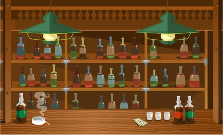 Wooden bar in wild west old style with booze vector illustration. Collection of wine bottles, barrel, glass, cigarette, banknote cartoon design. Bar background