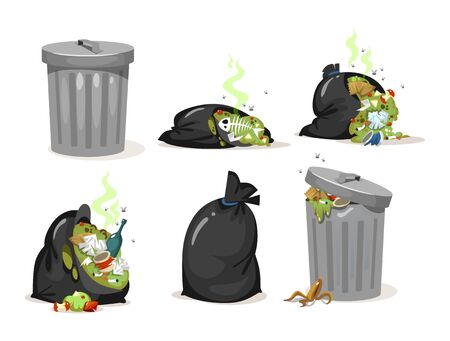 Black trash bags and garbage metal can set vector illustration. Falling rotten smelly rubbish and leftovers cartoon design. Ecology and environment concept. Isolated on white background