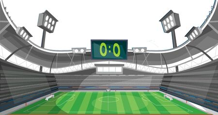 Sports stadium with lights and zero sum game vector illustration. Football field with scoreboard and spotlight cartoon design. Teamgame and soccer concept