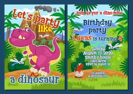 Dino party invitation template with decorations vector illustration. Lets party like dinosaur fun inscription cartoon design. Birthday festive celebration concept