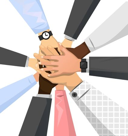 Team of business people putting hands together vector illustration. Colleagues showing gesture of unity partnership agreement social community and teamwork flat style. Isolated on white