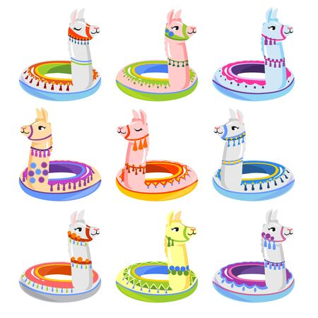 Colourful alpaca inflatable floats summer set vector illustration. Collection of childrens swimming circles. Rubber rings, beach water toys. Isolated on white background Vetores
