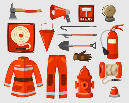 Set of supplies for firefighter in red colour vector illustration. Fire safety and protection flat style. Save life and brave people concept. Isolated on grey background