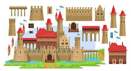 Medieval castle constructor for children vector illustration. Different details for diy flat style. History and ancient architecture concept. Isolated on white background Иллюстрация