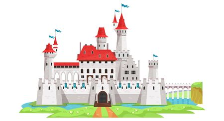 Medieval castle and tower building with landscape vector illustration. Architecture and ancient history flat style. Fantasy or fairytale palace . Isolated on white background
