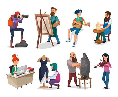 Set of creative people and interesting professions vector illustration. Office clerk painter pottery guitarist photographer violinist and seamstress flat style. Isolated on white background