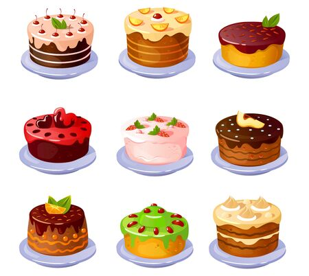 Set of different yummy colourful cakes with fruits vector illustration. Delicious sweets for tea or coffee cartoon design. Homemade bakery and confectionery concept. Isolated on white background Vettoriali