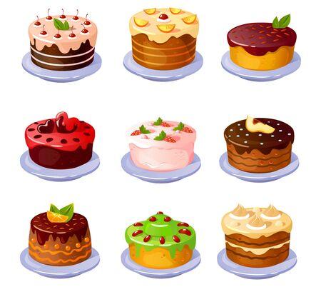 Ensemble de différents délicieux gâteaux colorés avec illustration vectorielle de fruits. De délicieux bonbons pour la conception de dessins animés de thé ou de café. Concept de boulangerie et de confiserie maison. Isolé sur fond blanc Vecteurs