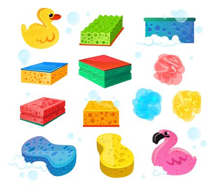 Set of bright colourful sponges for bath wash vector illustration. Various shapes and types of loofah cartoon design. Cute yellow duck and pink flamingo. Hygiene equipment concept. Isolated on white Illustration