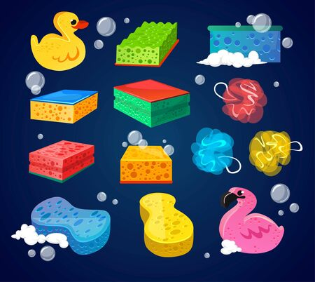 Set of colourful sponges for bathroom wash vector illustration. Different shapes and types of loofah cartoon design. Funny yellow duck and pink flamingo. Hygiene concept. Isolated on blue background