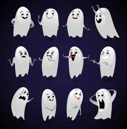 Cute ghosts with different facial expressions vector illustration. Halloween character with various emotions flat style. Kind monsters. Autumn holiday concept. Isolated on black background
