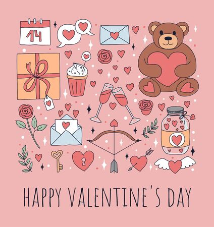 Happy valentines day greeting card with gifts vector illustration. Symbols of love holiday teddy bear, cakes, hearts, wine glasses flat style design. Feast of Saint Valentine concept. Isolated on pink