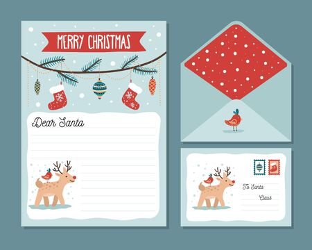 Cute christmas letter design template with deer vector illustration. Paper with dear santa text and front and back view of envelope cartoon style. Winter holidays concept. Isolated on blue