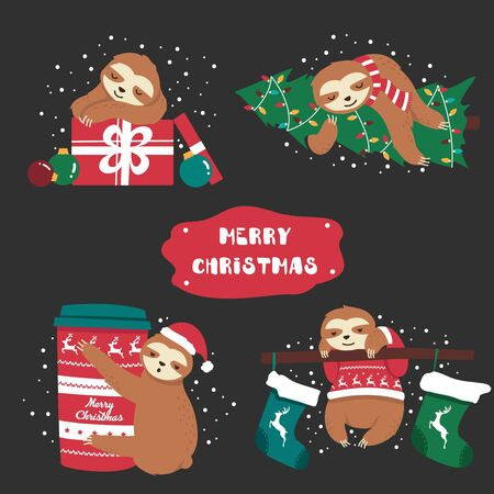 Set of sweet funny animal sloth and decoration vector illustration. Lazy character with different objects flat style. Happy christmas and holiday concept. Isolated on dark background 일러스트