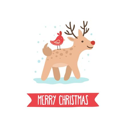 Merry christmas greeting card with cute deer vector illustration. Funny stag on ice with red bird on back cartoon design. Festive holiday and winter concept. Isolated on white Иллюстрация