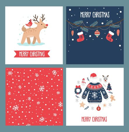 Merry christmas greeting cards collection vector illustration. Red socks festive tree decorations deer and knitted sweater cartoon design. Xmas and winter concept Иллюстрация