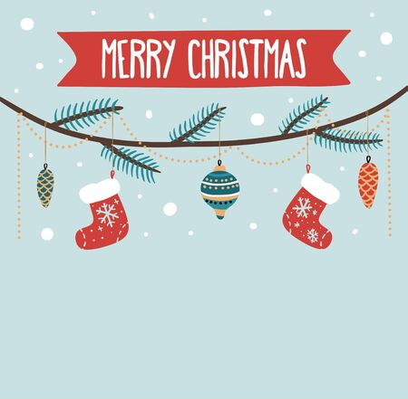 Merry christmas greeting card with decorations on twig vector illustration. Red socks ball and festive pinecones cartoon design on blue background. Winter holidays concept