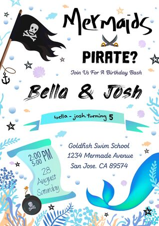 Pirate or mermaid birthday costume party invitation vector illustration. Festive event address information flat style. Colourful design of card. Isolated on white background Ilustrace