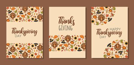 Thanksgiving greeting cards with decorations set vector illustration. Seasonal ornament and handwritten text flat style. Celebration lettering and autumn holiday concept