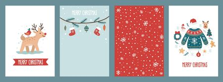 Festive cute merry christmas greeting cards set vector illustration. Snowflakes deer and bird and xmas elements cartoon design. Winter holidays concept