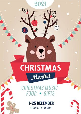 Christmas market poster template with bear vector illustration. Christmas music food and gifts flat style. Address information about festive event. Colourful announcement. Happy new year concept
